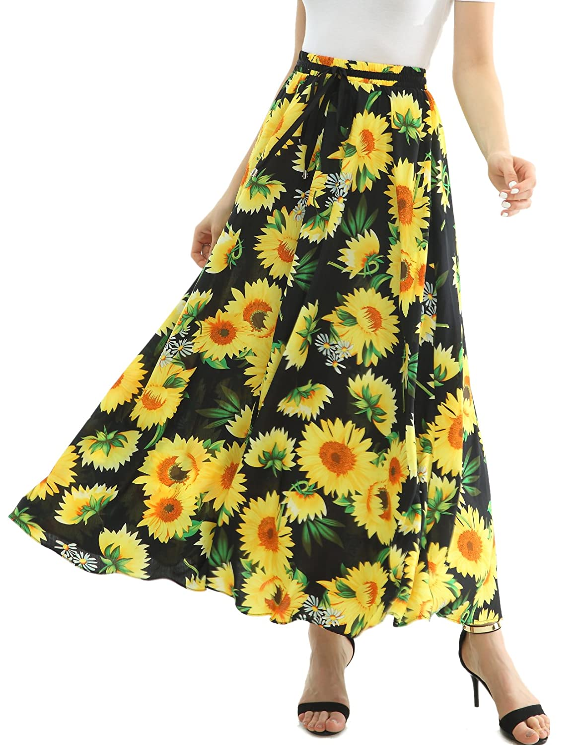 4becacf22d Design: Elastic high waist, Tropical Sun Flower Print, Ankle Length, Flowy  skirt,long maxi skirt. Style:Flowy A-line pleated pattern,best maxi skirt  for ...