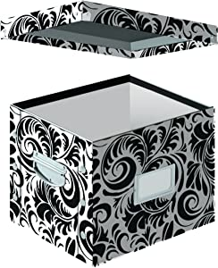 Snap-N-Store Letter-Size File Box, Accommodates Standard or Hanging File Folders, 9.875 x 10.75 x 13.25 Inches, Black and White Scroll Design (SNS01836)