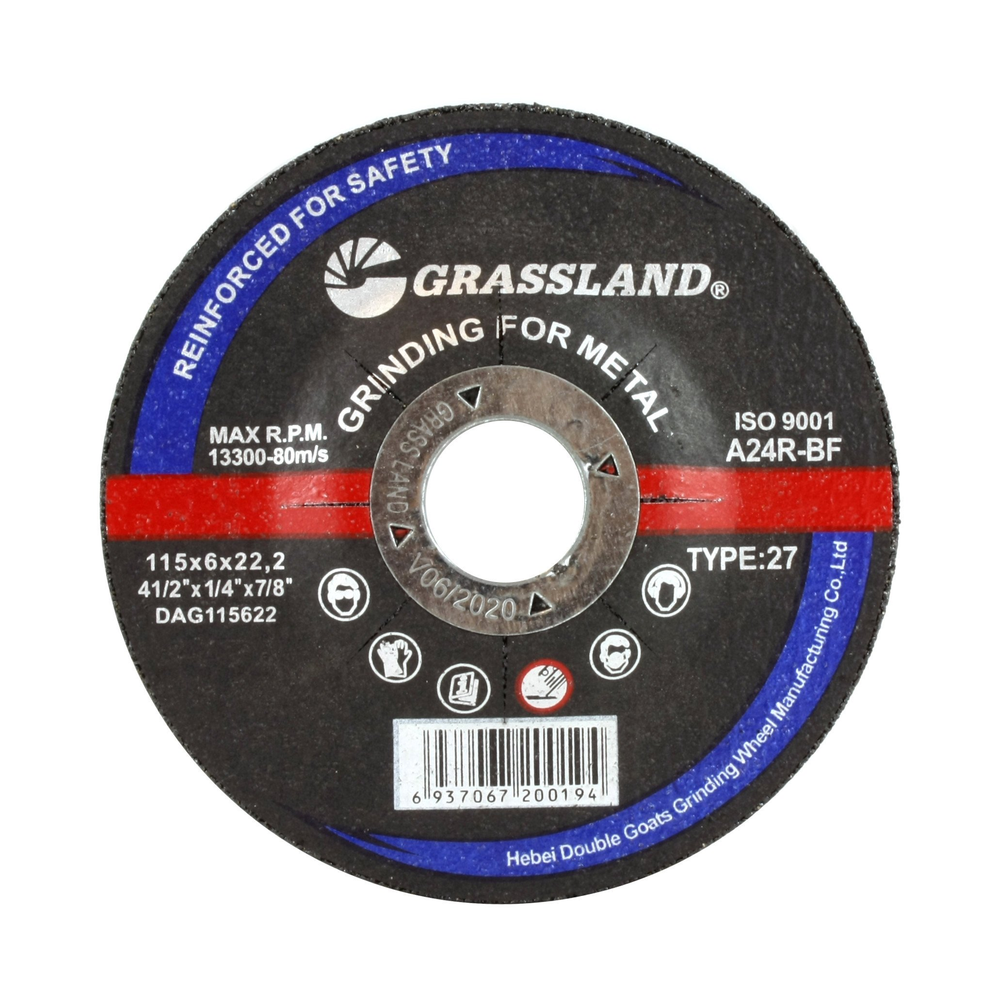 Grinding Disc, Steel Grinding wheel - 4-1/2'' x 1/4'' x 7/8'' - T27 - (50 PACK)