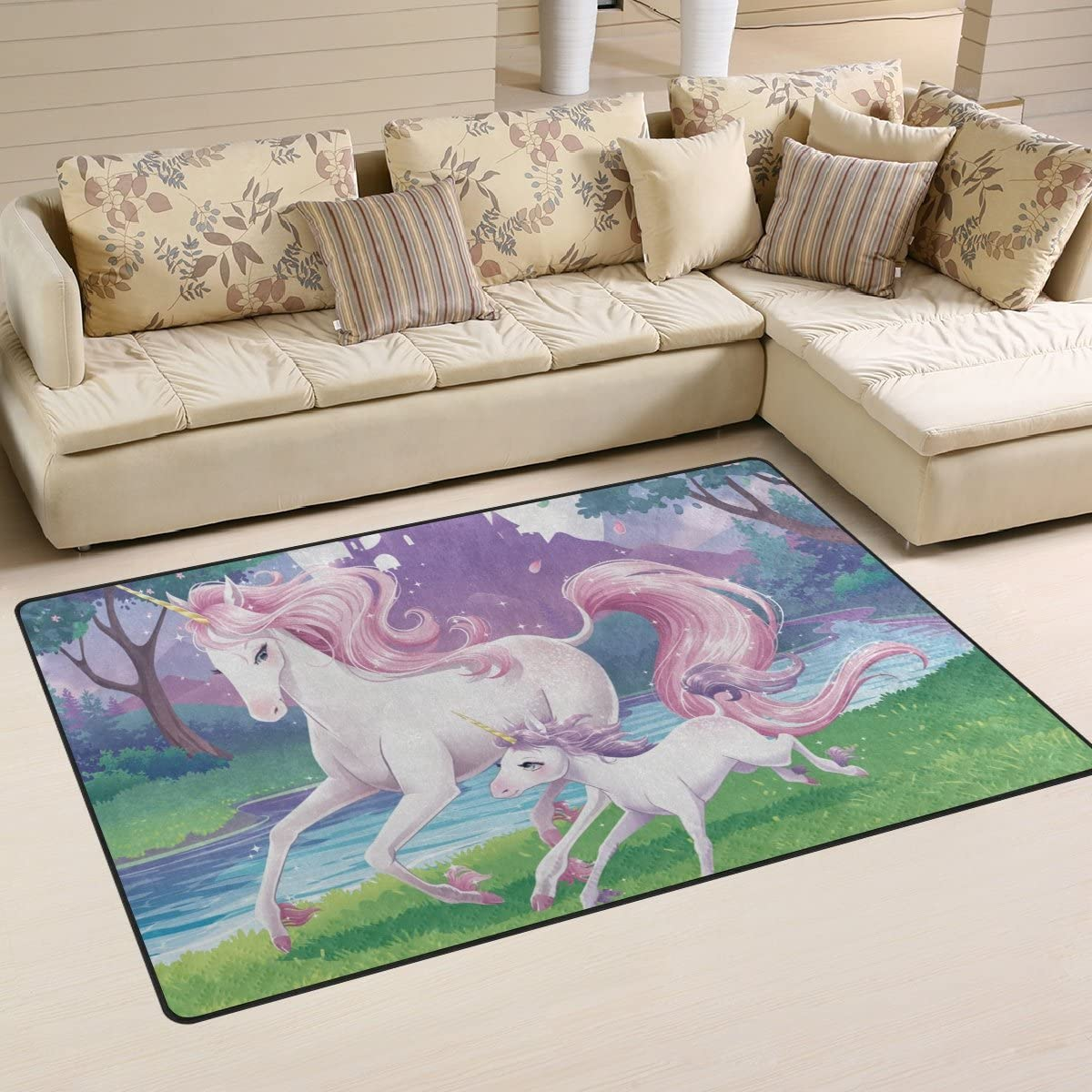 DEYYA Pink Unicorn Mother and Son Forest Run Area Rug Rugs Non-Slip Floor Mat Doormats for Living Room Bedroom 60×39 inches