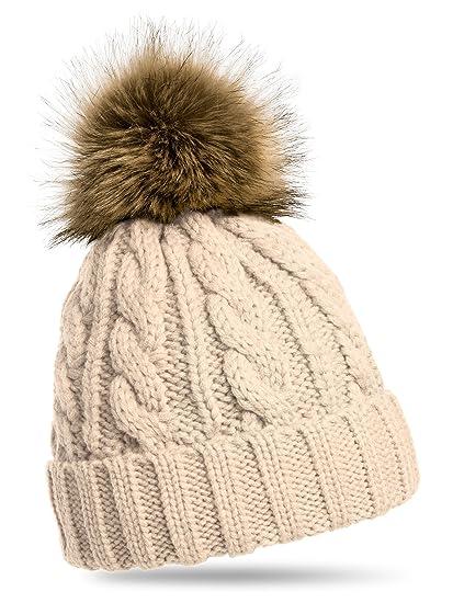 e381042e745 CASPAR MU104 Bonnet fourré hiver pour femme - bonnet tricoté avec torsades  et gros pompon en