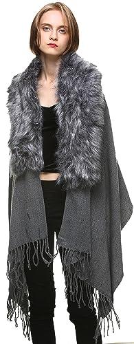 Vogueearth Donna'Volpe Pelliccia/Pelliccia Sintetica Faux Fur Due Materiali Scelgono Cashmere Avvolg...