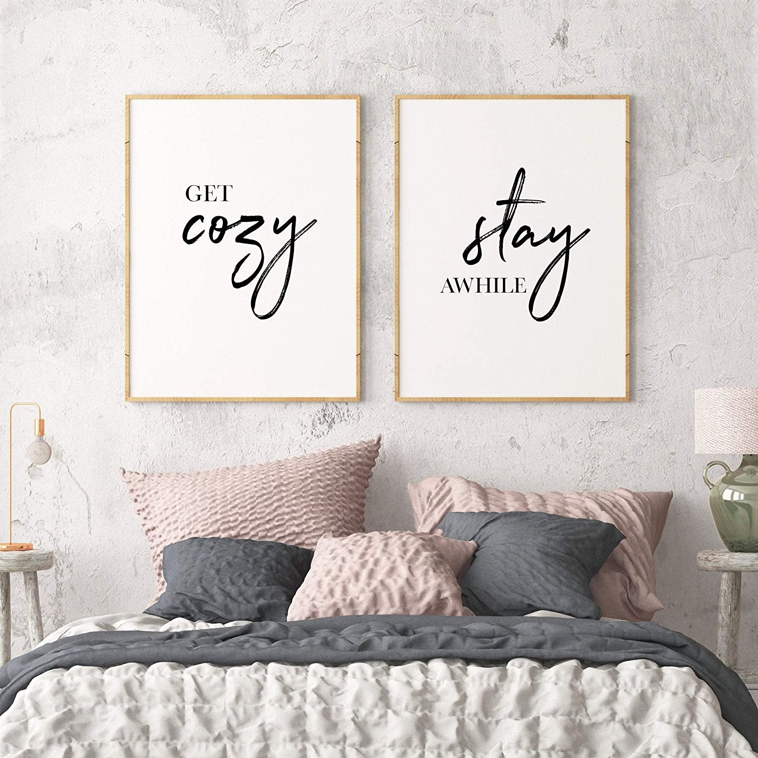 Amazon Com Wood Framed Sign 8x12 Wooden Prints Printable Get Cozy Stay Awhile Printable Art Set Of 2 Wall Art Guest Room Decor Inspirational Quote Print Stay Awhile Sign Wood Signs For Home