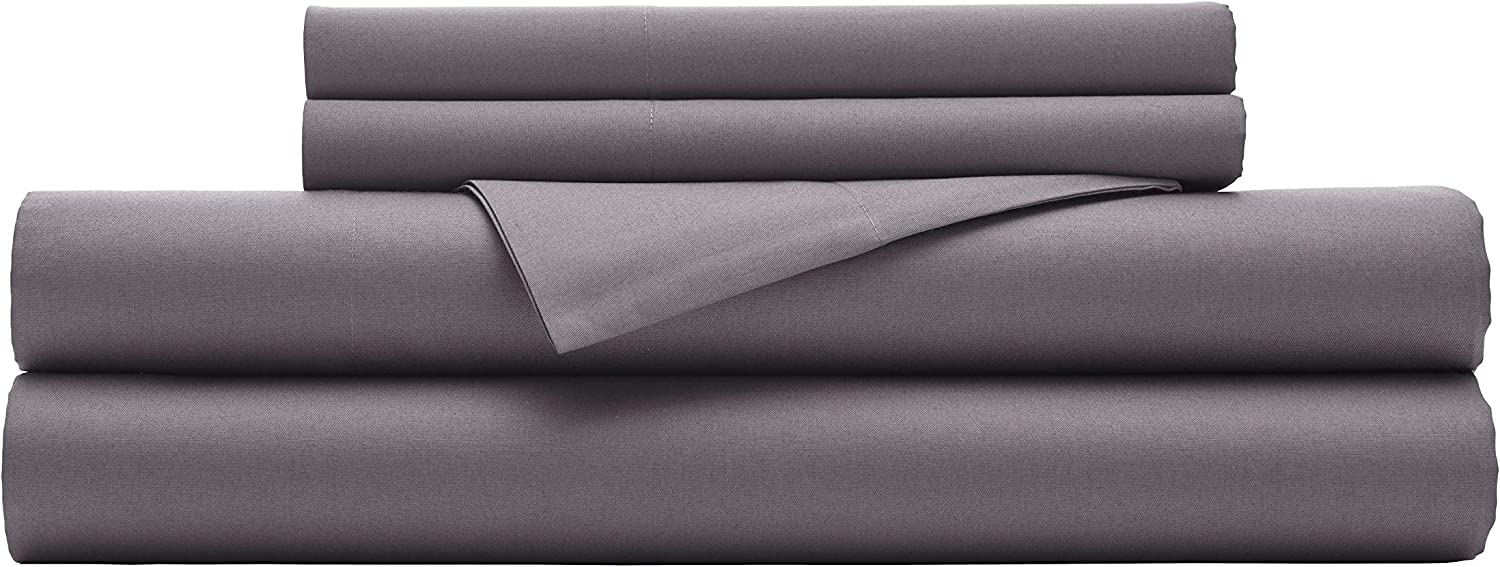 Kenneth Cole New York Micro Twill 100% Cotton- Grey Queen, 4-Piece Sheet Set