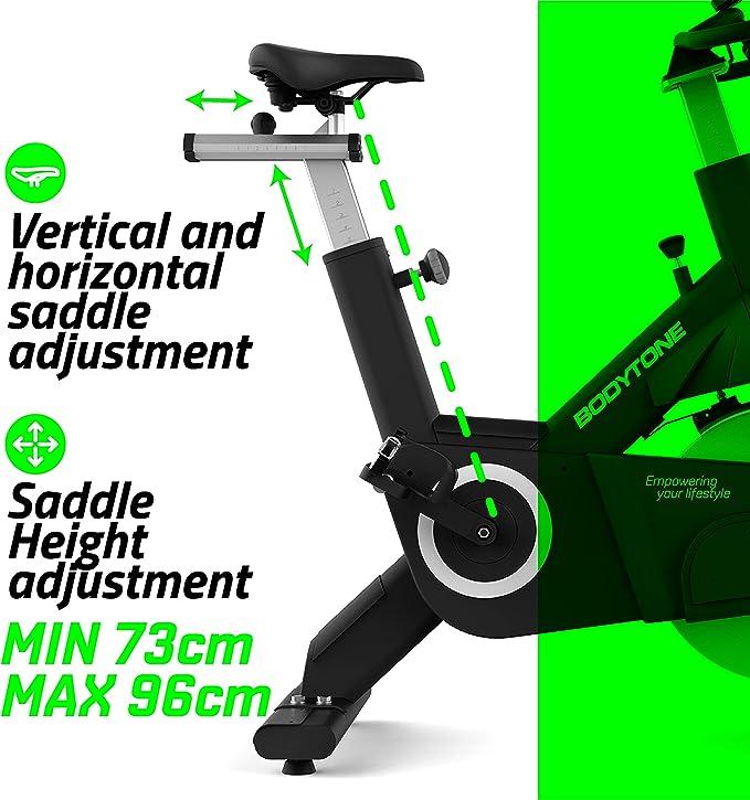 BT BODYTONE - EX2 - Bicicleta Estática Profesional de Ciclo Indoor para Fitness y Spinning - Hecha en Acero y Materiales de Primera Calidad - Peso Máximo Usuario 150 KG. (Color Gris):