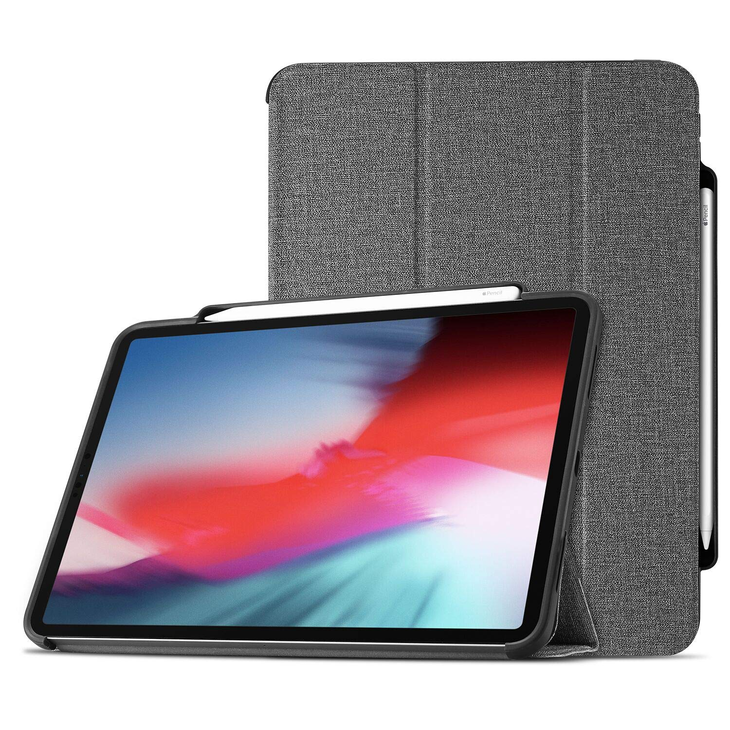 ProCase iPad Pro 12.9 Case 2018 with Apple Pencil Holder [Support Apple Pencil Charging], Protective Smart Cover Shell Stand Folio Case for Apple iPad Pro 12.9 Inch 3rd Gen 2018 Release –Grey