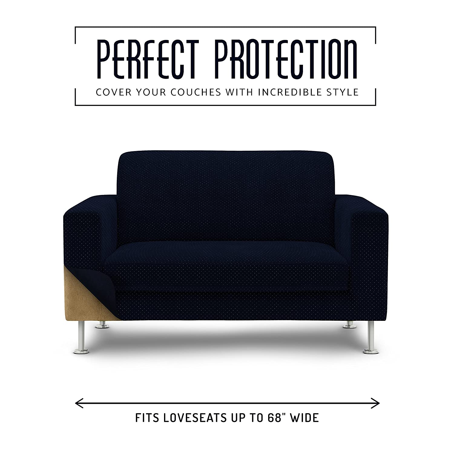 Brilliant Le Benton Loveseat Cover Decorative Metallic Dot Style 2 Seat Fitted Couch Cover Premium Pet Furniture Protector Navy Blue Silver Alphanode Cool Chair Designs And Ideas Alphanodeonline