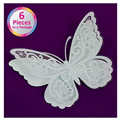 Sparkly 3D White Butterfly Wall Decals Stickers - Set of 6 Spectacular Glittery Boys and Girls Room Decor - Set of Easy to Stick Wall Decorations: Arts, Crafts & Sewing