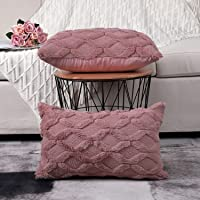 Madizz Pack of 2 Soft Plush Short Wool Velvet Decorative Throw Pillow Covers Luxury Style Cushion Case Pillow Shell for Sofa Bedroom Pink 12x20 inch Rectangular