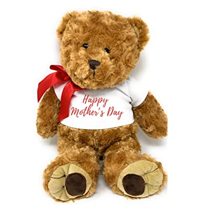 """PaperGala Customized Mother's Day Teddy Bear Large 16"""" Personalized Plush with Name Choice Text for Mom Gift Choose Ribbon Text Color: Toys & Games"""
