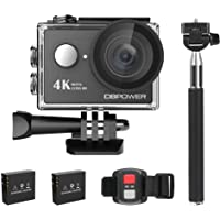 DBPOWER Q3H 4K Wi-Fi Waterproof Sport Action Video Camera with Remote Control and Rechargeable Battery Accessories Kit
