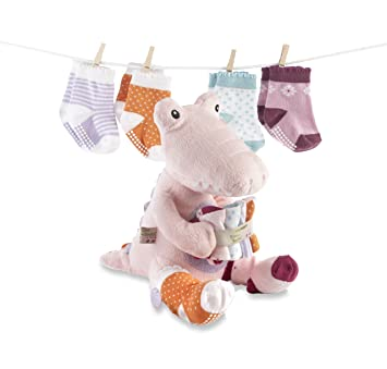 e3dfcfed9d9b3 Amazon.com  Baby Aspen Croc in Socks Plush Toy and Baby Socks Gift ...