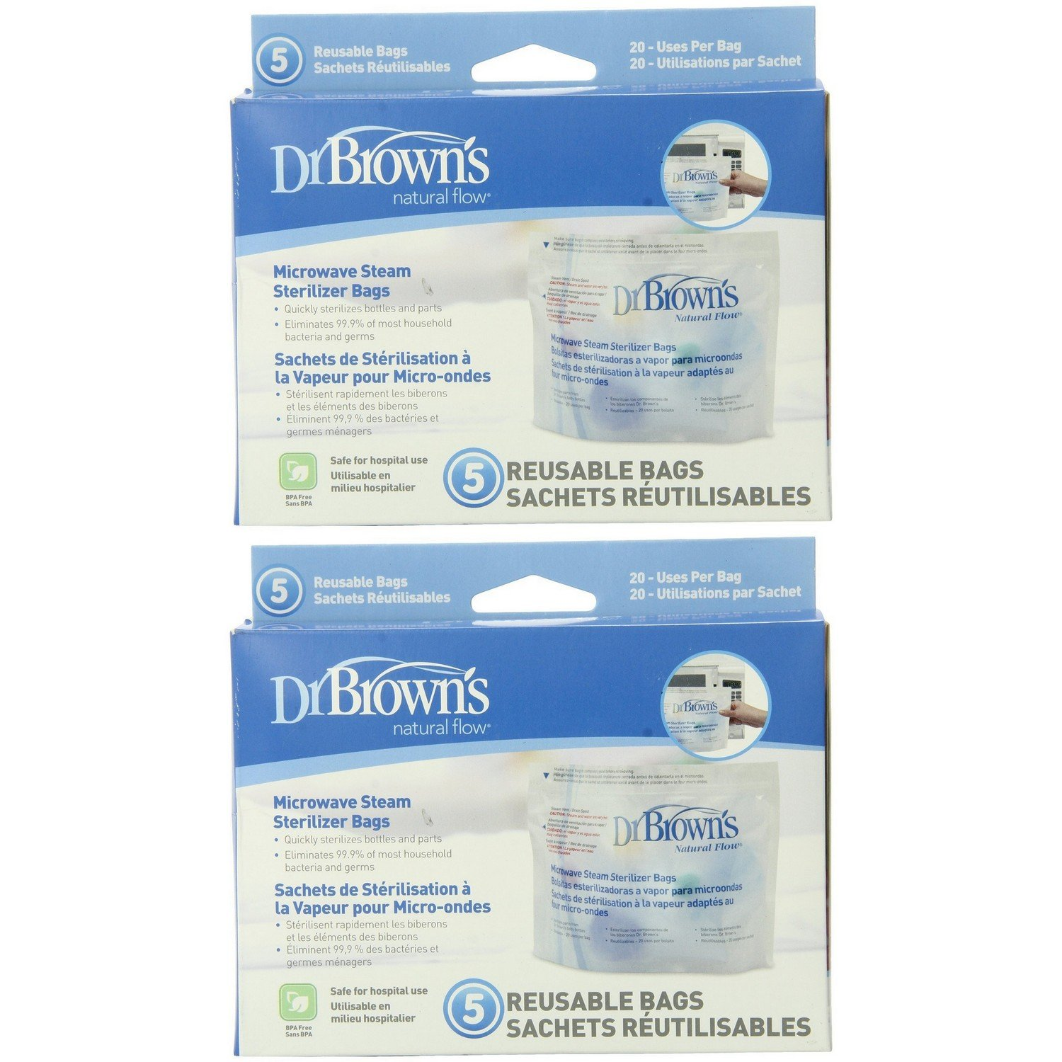 Dr. Brown's Microwave Steam Sterilizer Bags - 2 Packs of 5 Count = 10 Bags by Dr. Brown's