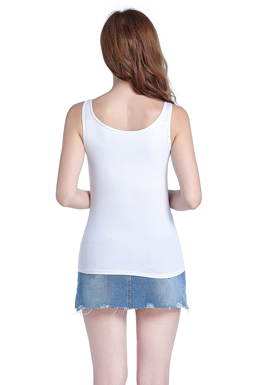 a4193f2f09cc7 HBY Womens Camisole Built-in Shelf Padded Bra Cami Bra Straps Tank Top  Solid Color