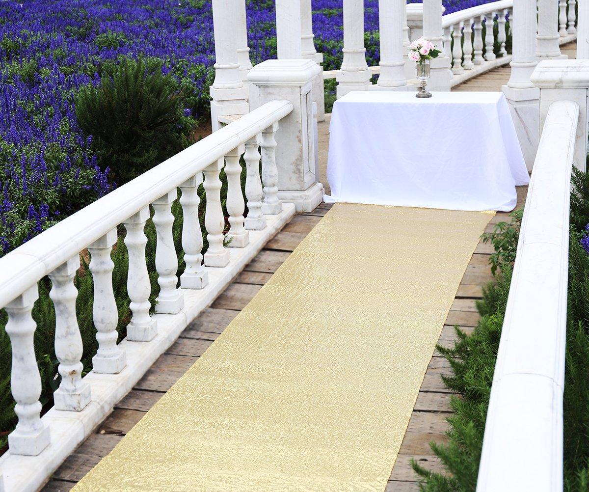 Zdada Wedding Aisle Runner 4FTX15FT-Gold Glitter Carpert Runner,Sequin Aisles Floor Runner,Wedding Ceremony Decor