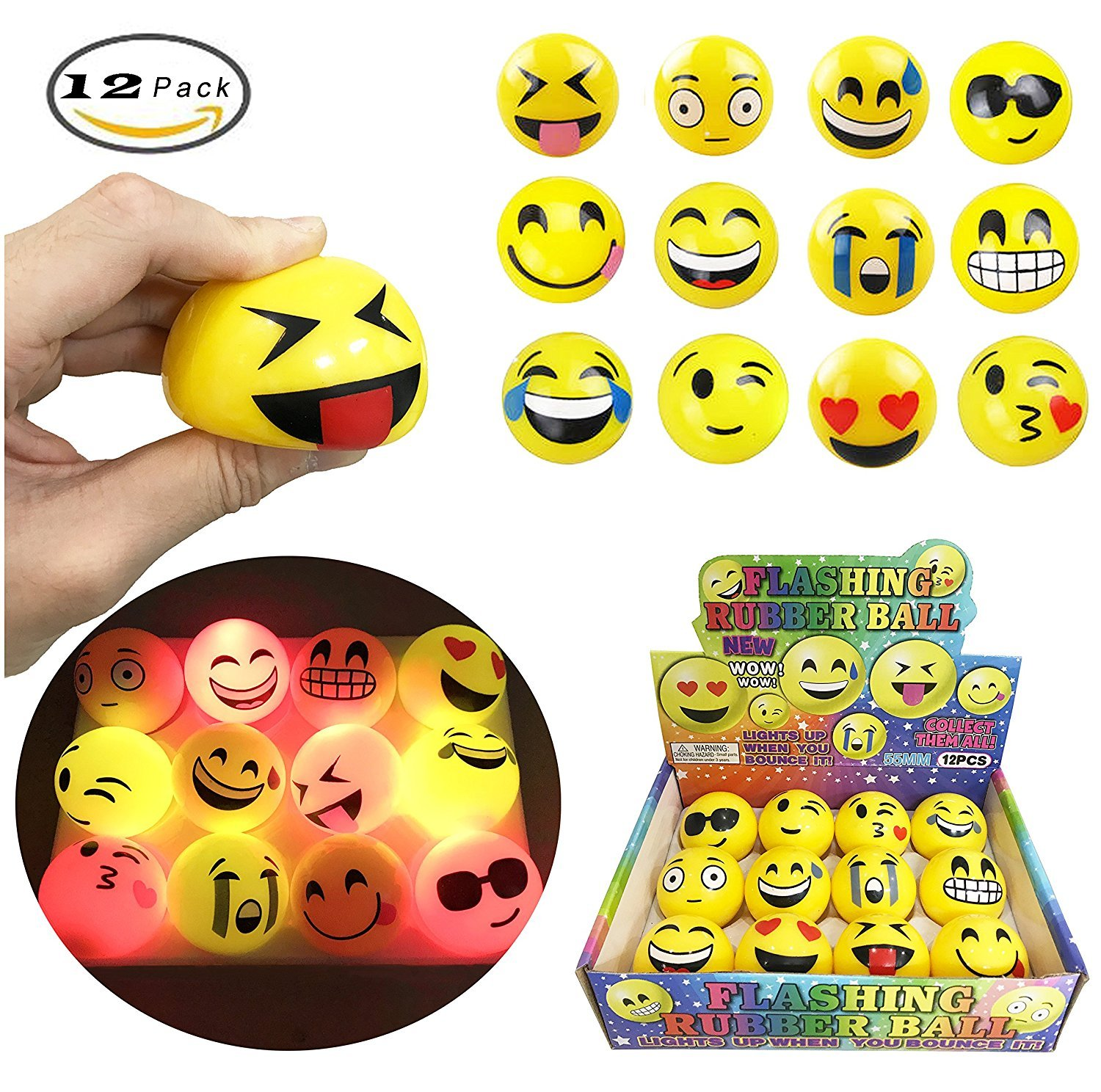 A Fun Set of 12 LED Flashing Emoji Face Squeeze Bouncy Balls (2 inches) - Stress Relief Rubber Toys for Kids and Adults, Party Favor, Anxiety Relief Toys, Pass time Toy, Circulation Healthy Toy