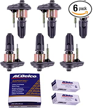 MAS Ignition Coils UF303 With OEM Spark plugs Replacement compatible with Chevy Trailblazer Colorado Buick Rainier GMC Canyon Envoy Hummer H3 Isuzu Olds Saab 2.8L 3.5L 4.2L 6