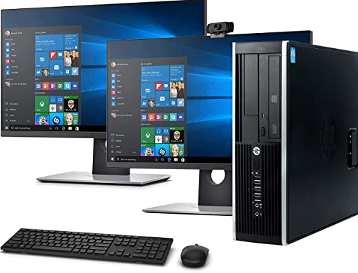 "HP Elite SFF Computer Desktop PC, Intel Core i5, 16GB Ram, 128GB M.2 SSD, 2TB Hard Drive, Wireless Keyboard & Mouse, WiFi   Bluetooth, New Dual 23.8"" Monitor,1080p Webcam, Windows 10 (Renewed)"