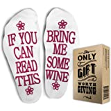 "VK's FUNNIEST WINE SOCKS + Gift Box ""If you can read this bring me some wine""Perfect Mother's day Funny Unisex Gift for Wine Lovers, For Her, Birthdays,White Elephant, Wife, Sister or Best Friend Wine Socks"
