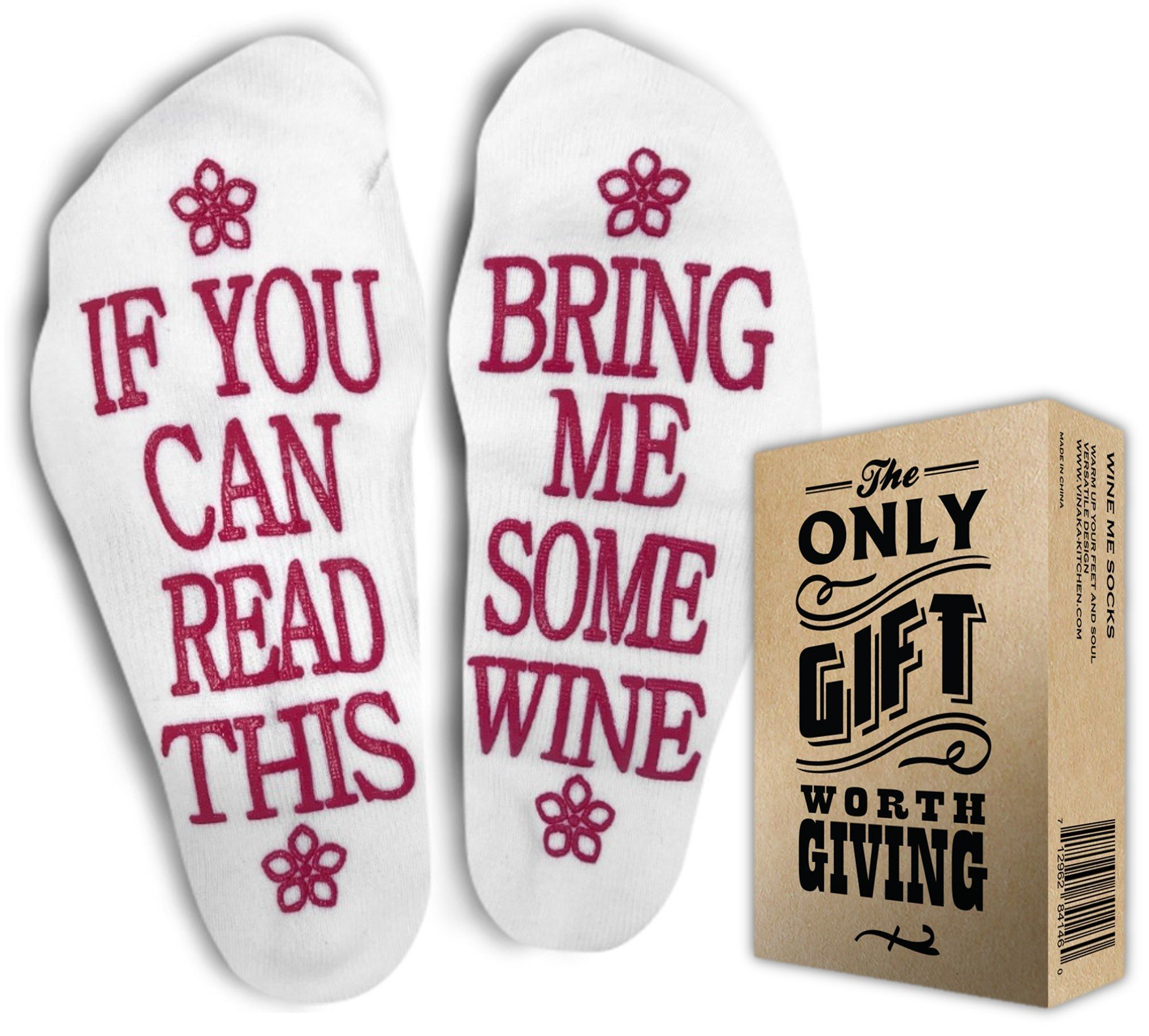 WINE SOCKS + Gift Box If you can read this bring me some wine