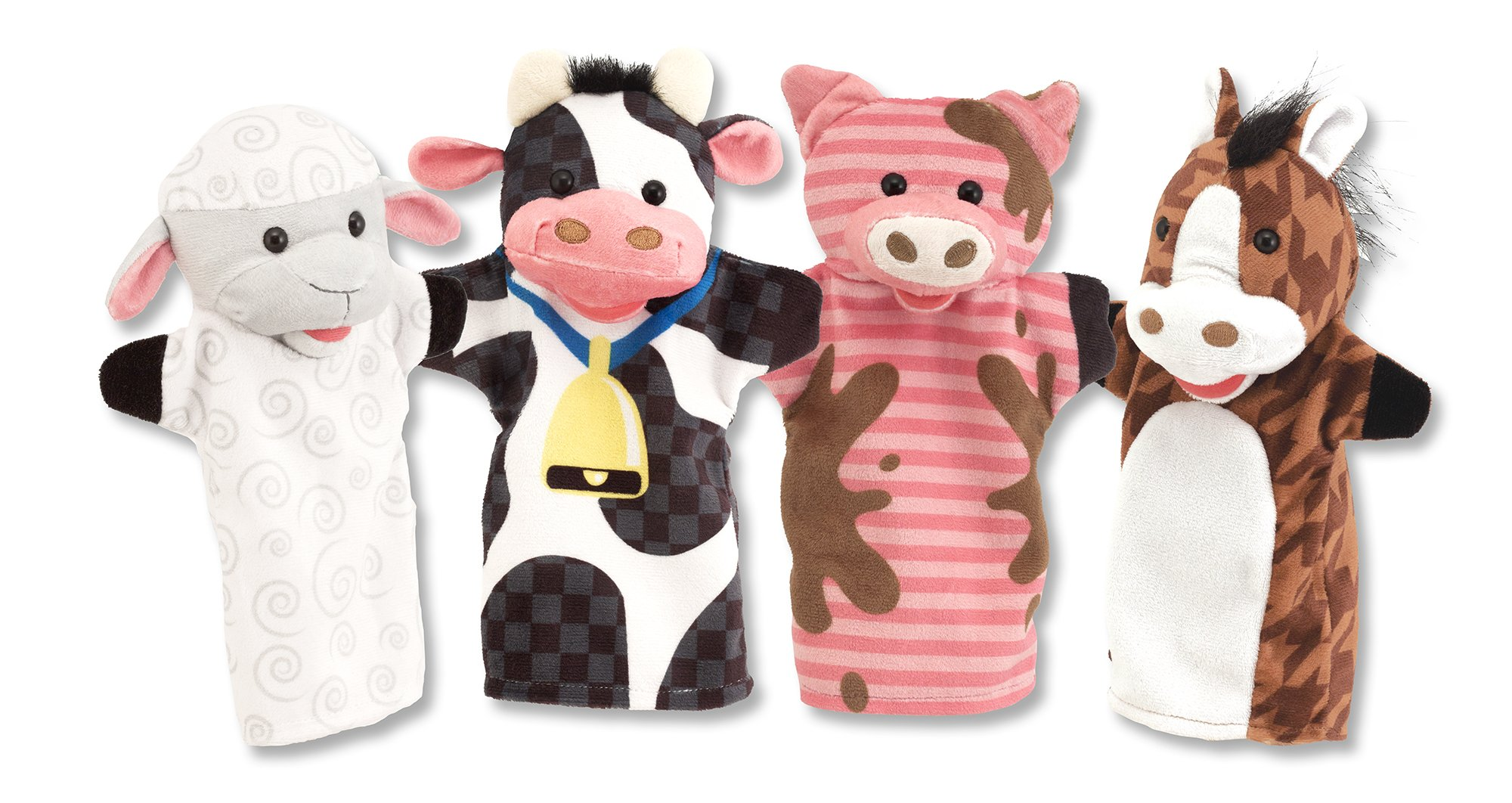 Melissa & Doug Farm Friends Hand Puppets (Set of 4) - Cow, Horse, Sheep, and Pig