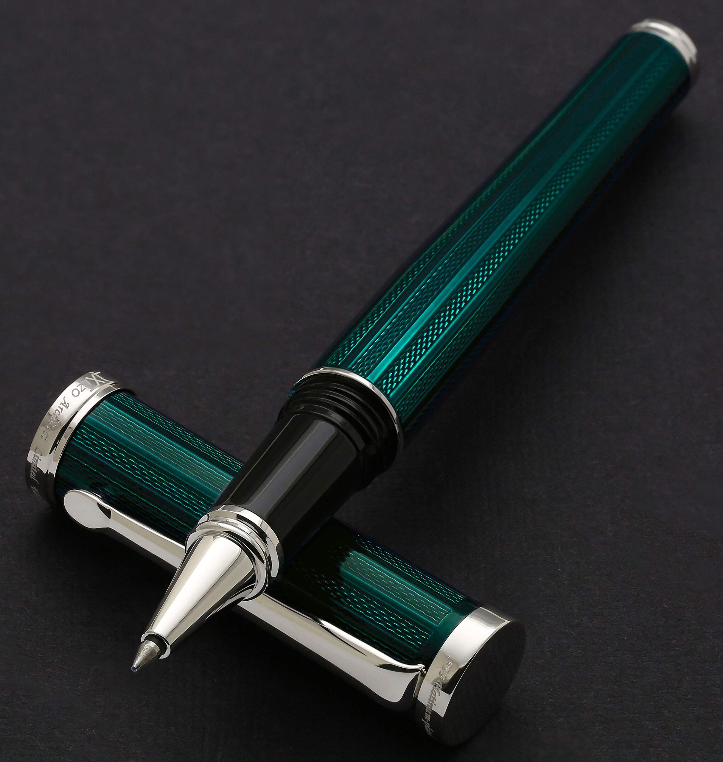 Xezo Architect Fine Executive Rollerball Pen. Diamond-Cut Weighty Barrel. Platinum Plated (Architect Emerald R)