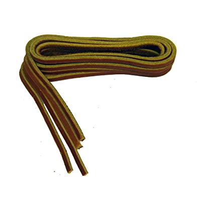 30 Inch Tan Leather Laces for all Quality Footwear Boat Shoes 1/8 Inch Square (2 Pair Pack)