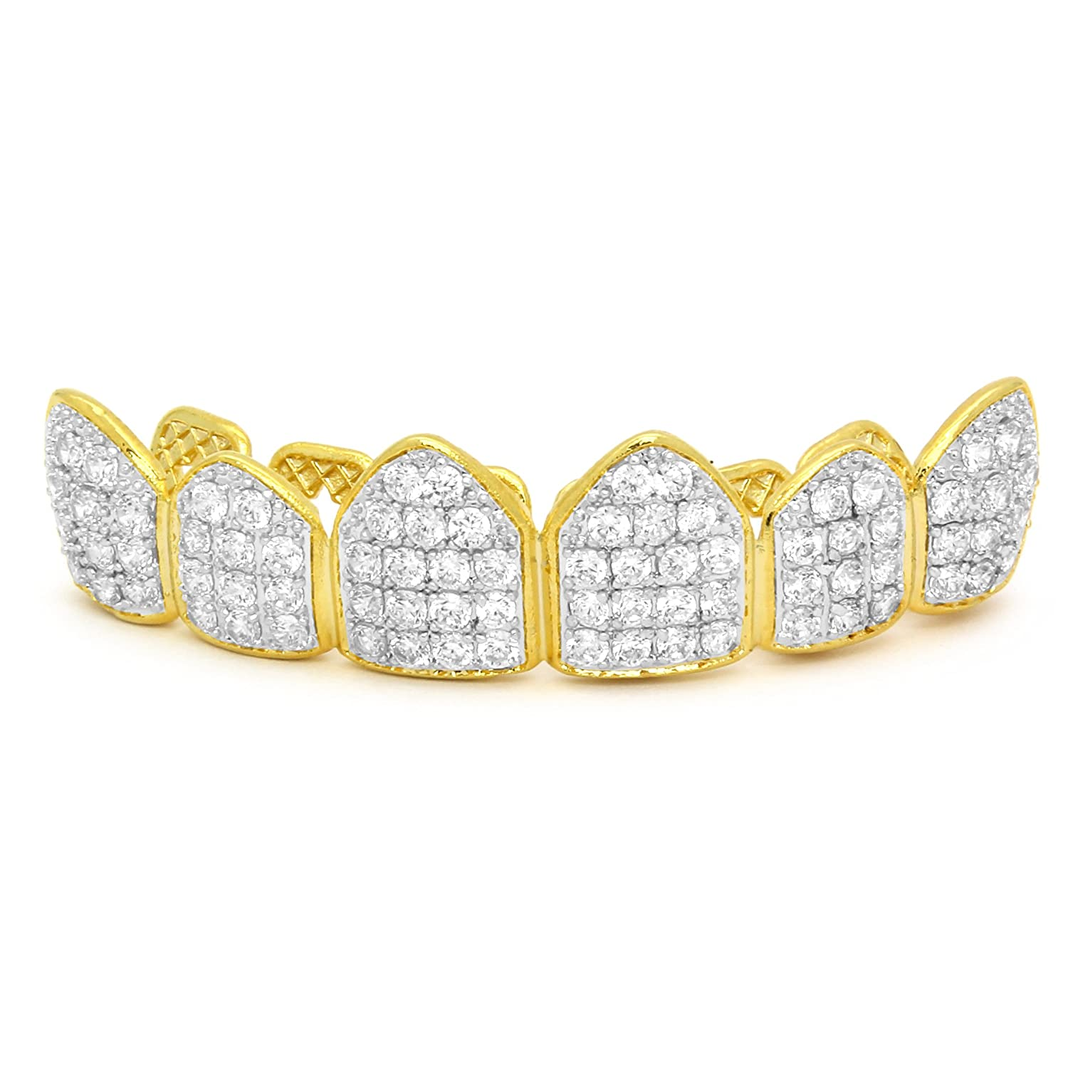 L/&L Nation 18K Gold /& Silver Plated CZ Top Row Grillz Mouth Teeth Grills