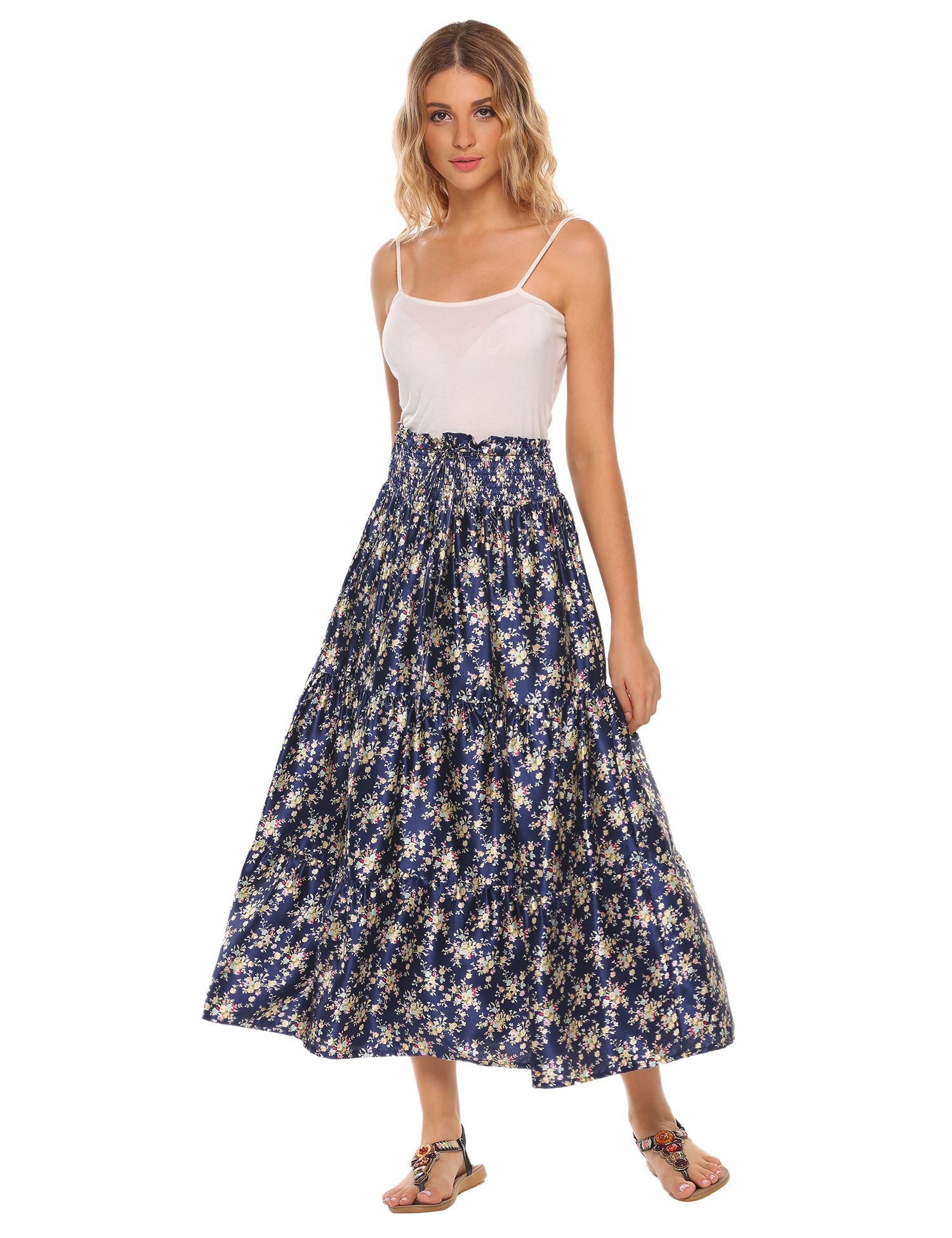 satin skirt,Womens Summer Boho Style Tiered Maxi Skirt With Belt by Chigant