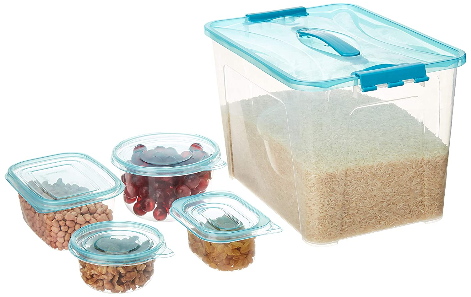 Amazon Brand - Solimo Storage Container Set, Set of 50, Blue