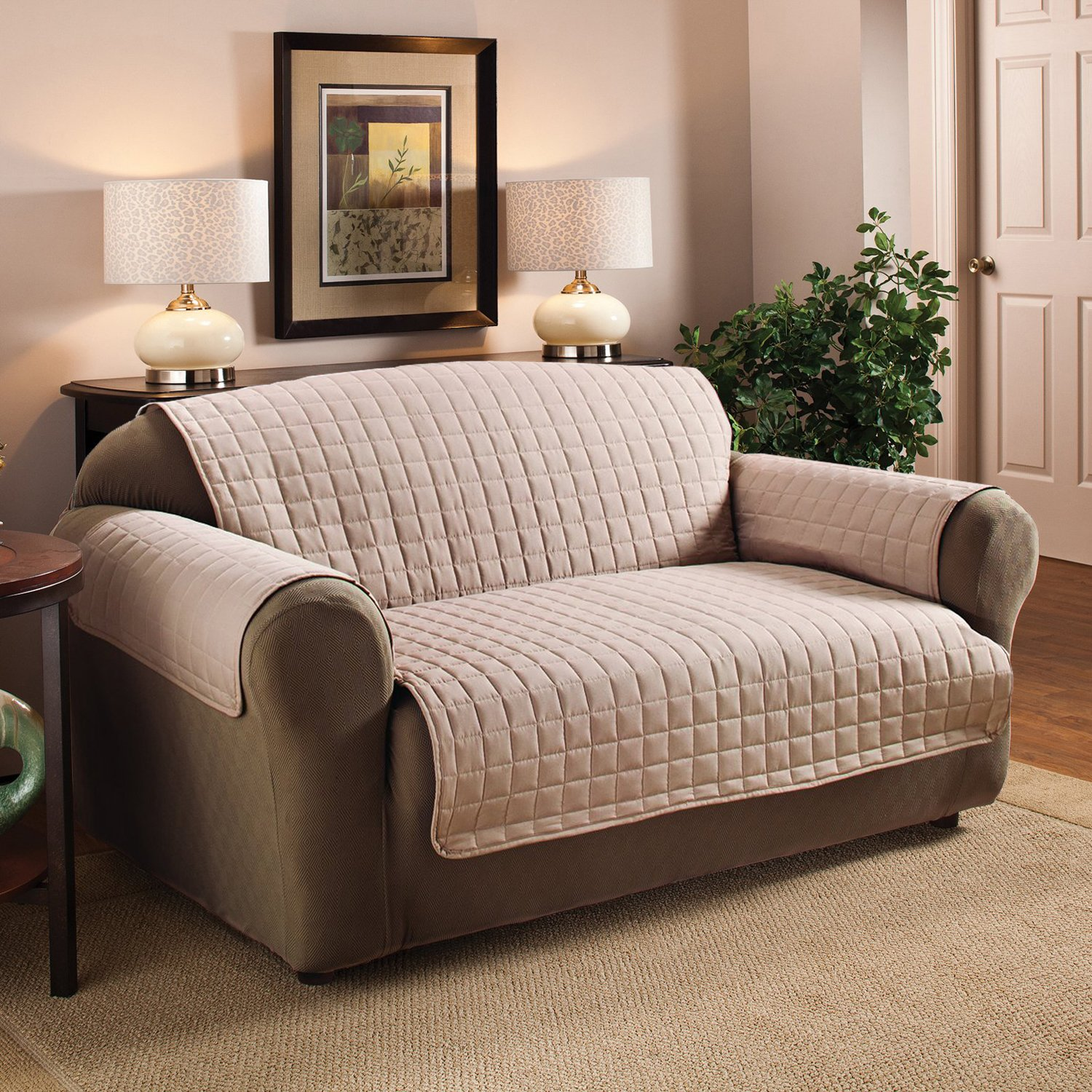 Sweet Home Collection Luxury Furniture Protector with Quilted Design Preserves Sofa/Loveseat/Chair, Sofa/Tan