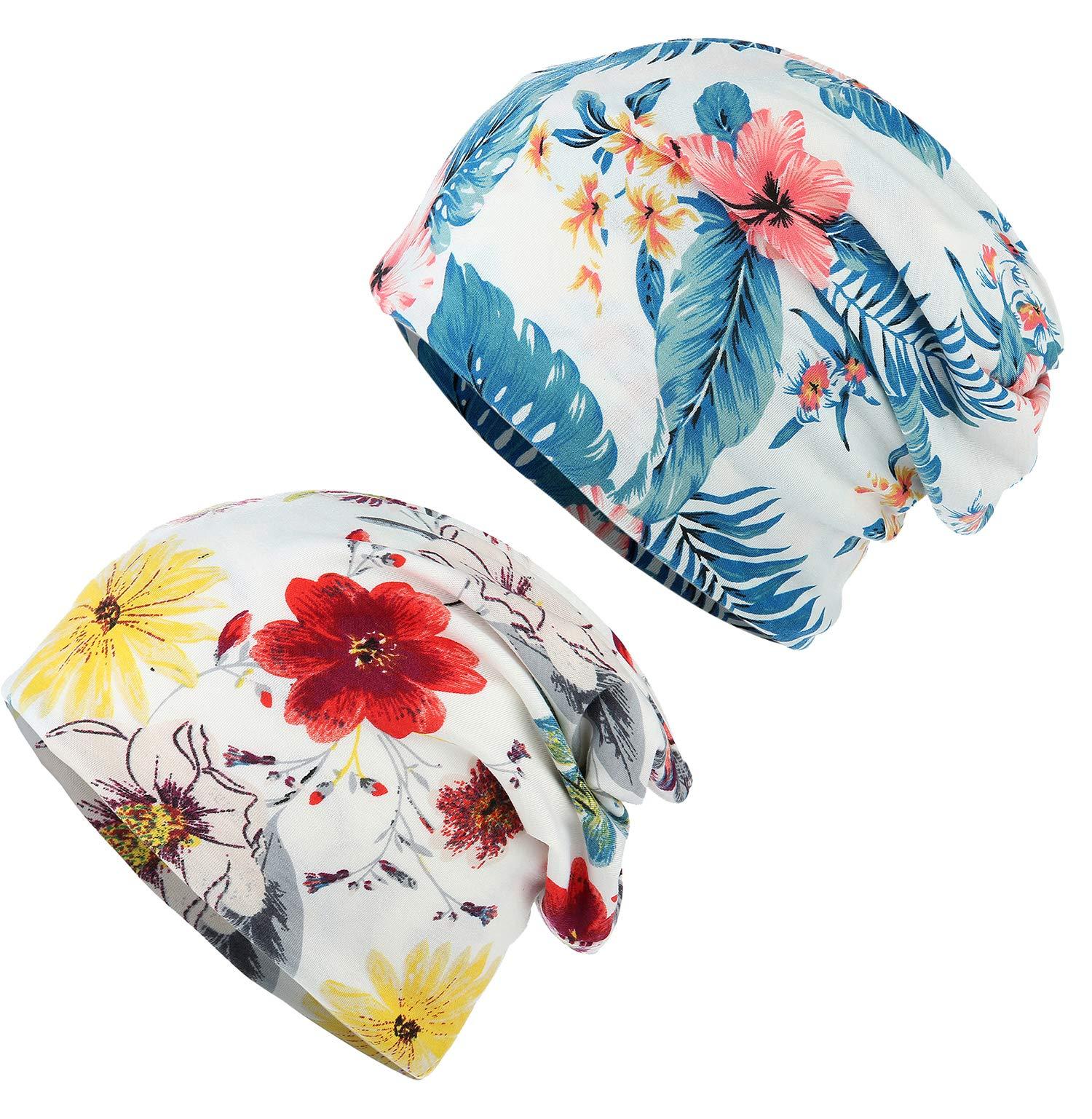 HONENNA Flower Printed Cotton Beanie Women Turban Headband Chemo Cap (2 Pack Set 2)