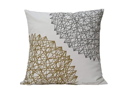 Cojín gris y oro, regalo especial,decoración de casa, linos ...