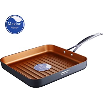 Cooksmark Copper Pan 10-Inch Nonstick Deep Square Grill Pan, Deep Griddle Pan with Stainless Steel Handle, Dishwasher Safe Oven Safe