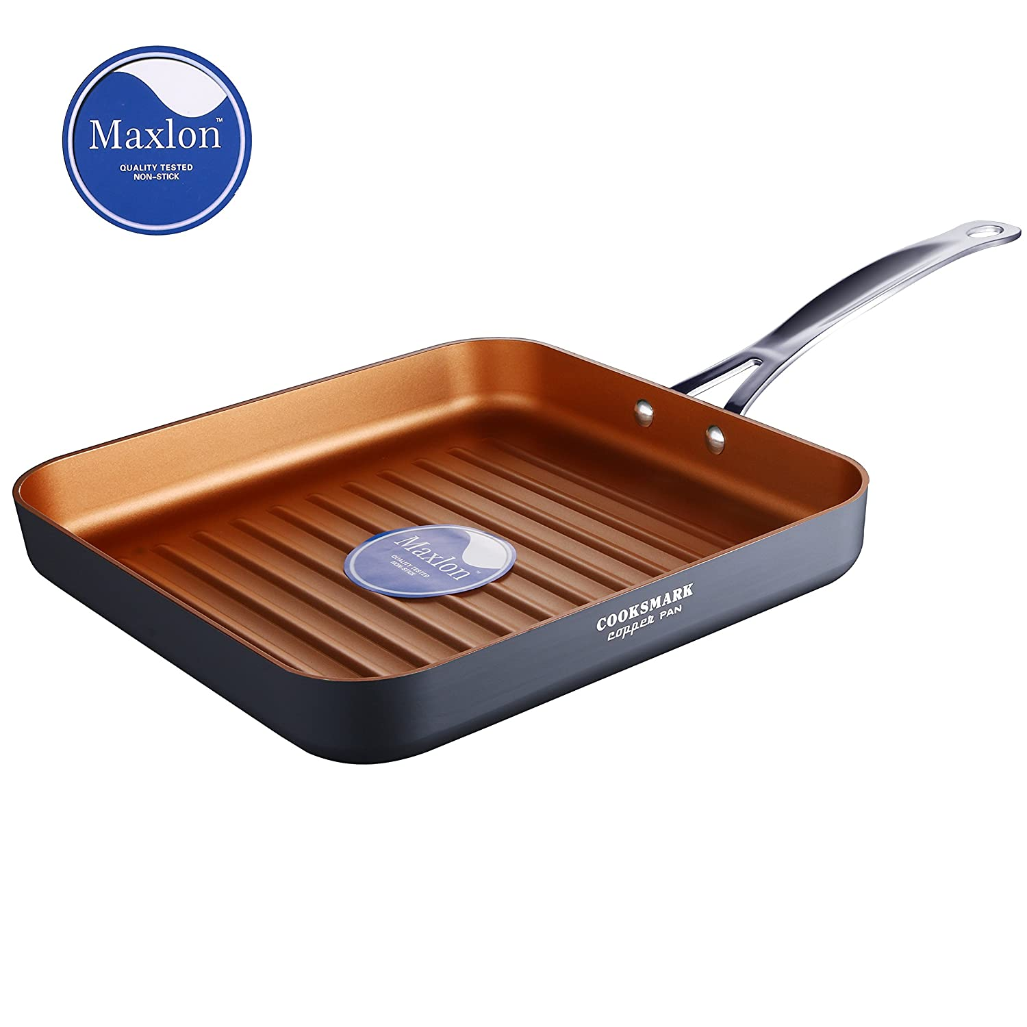 COOKSMARK Copper Pan 26CM (10-Inch) Nonstick Deep Square Grill Pan, Deep Griddle Pan with Stainless Steel Handle Oven Safe Free 1151012