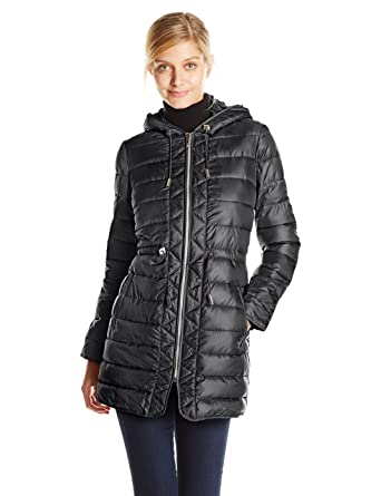Kenneth Cole Women's Packable Puffer Coat with Cinch Waist at ...