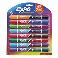 EXPO 2-in-1 Double-Sided Dry Erase Markers, Pack of 8