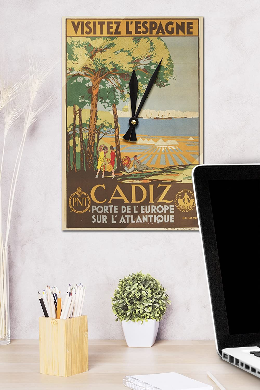 Cádiz – Visitez L espagne Vintage Póster (artista: de Castro) España C. 1929 (acrílico reloj de pared): Amazon.es: Hogar