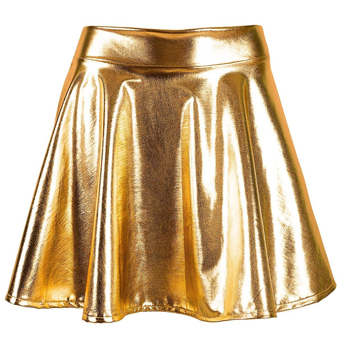 Mother's Day Gifts Pleated Skirt Short Shiny Liquid Metallic Flared Skater Skirt Golden, Small by TQS (Image #2)