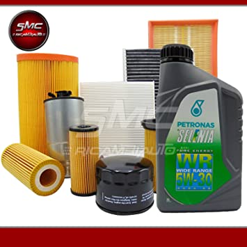 Kit de mantenimiento: filtros originales + 5 l de aceite Selenia WR 5W30 (71754237, 51843850, 77366607 o 77363657, 50511785): Amazon.es: Coche y moto