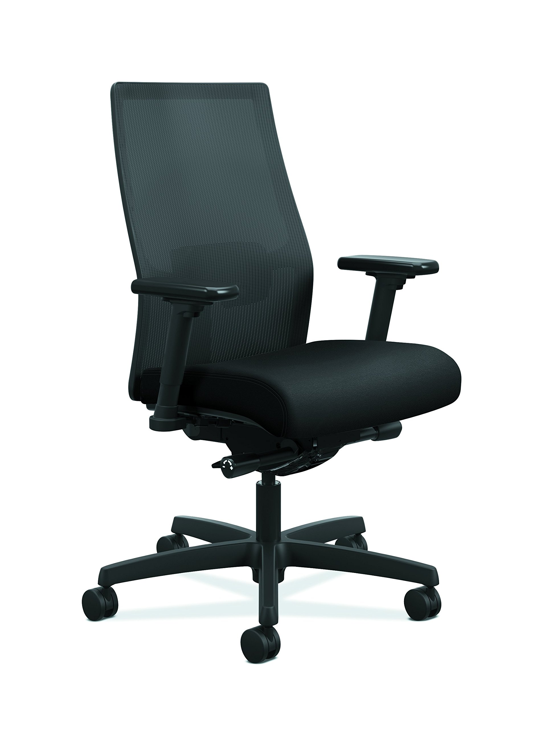 HON Ignition 2.0 Mid-Back Adjustable Lumbar Work Chair - Black Mesh Computer Chair for Office Desk, Black Fabric (HONI2M2AMLC10TK) by HON
