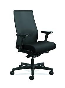 HON Ignition 2.0 Mid-Back Adjustable Lumbar Work Chair - Black Mesh Computer Chair for Office Desk, Black Fabric (HONI2M2AMLC10TK)