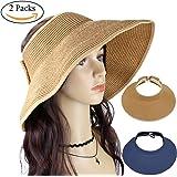 Beautyer 2 Pack Women's Wide Brim Roll up Floppy Beach Straw Sun Hat Visor Cap