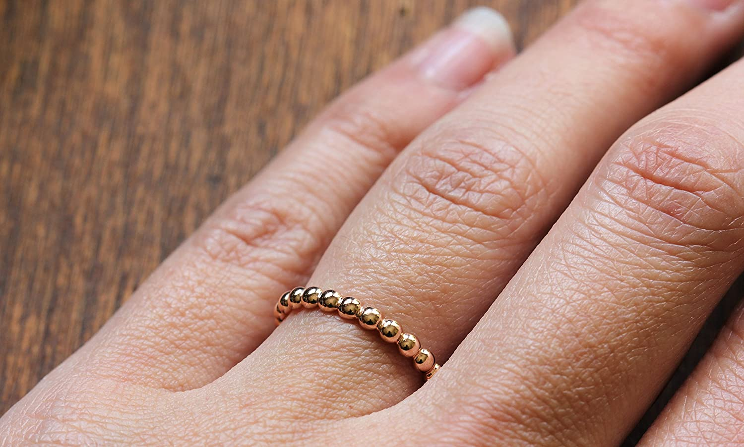 Amazon.com: Beaded 14k Rose Gold Stackable Wedding Band - 14k Yellow ...