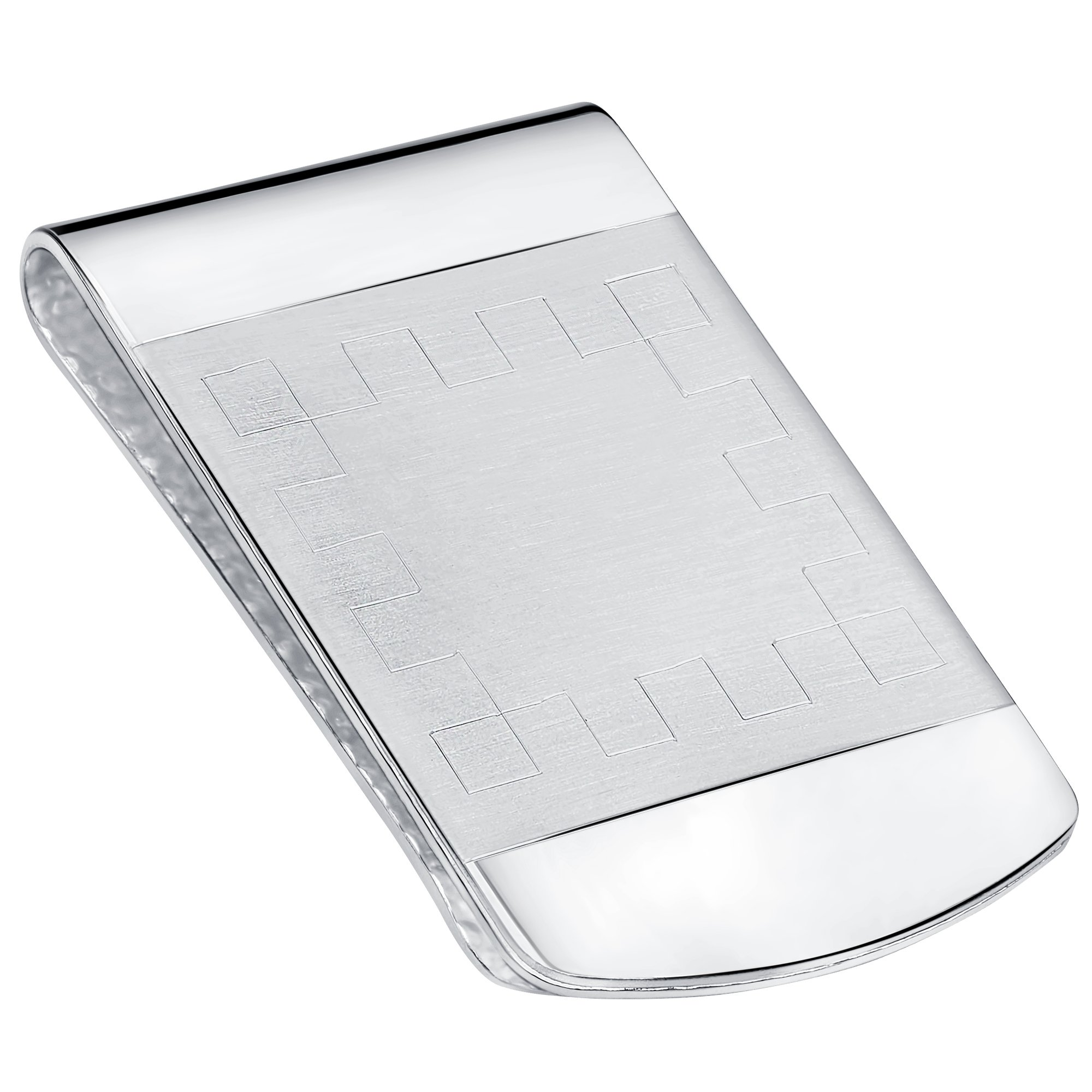 Sterling Silver .925 Engravable Satin Center Accent Solid Design Money Clip. Designed and Made In Italy. By Sterling Manufacturers by Sterling Manufacturers