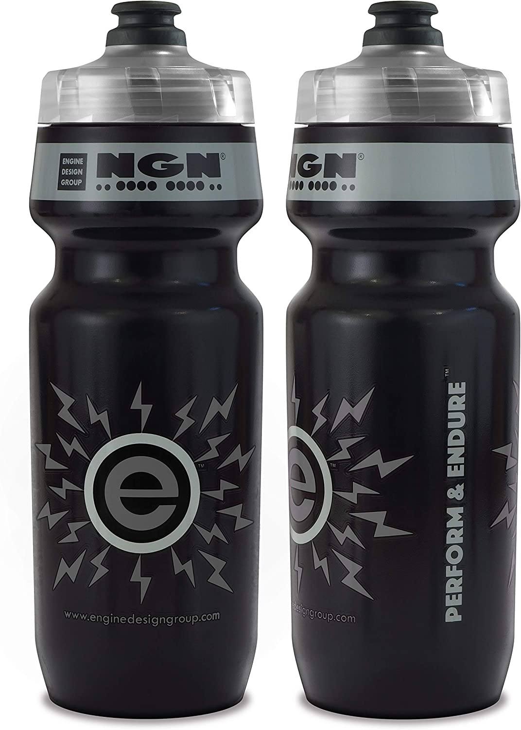 NGN Sport - High Performance Bicycle | Bike Water Bottle for Triathlon, MTB, and Road Cycling - 24 oz (2-Pack) (Black/ Gray (2-Pack))