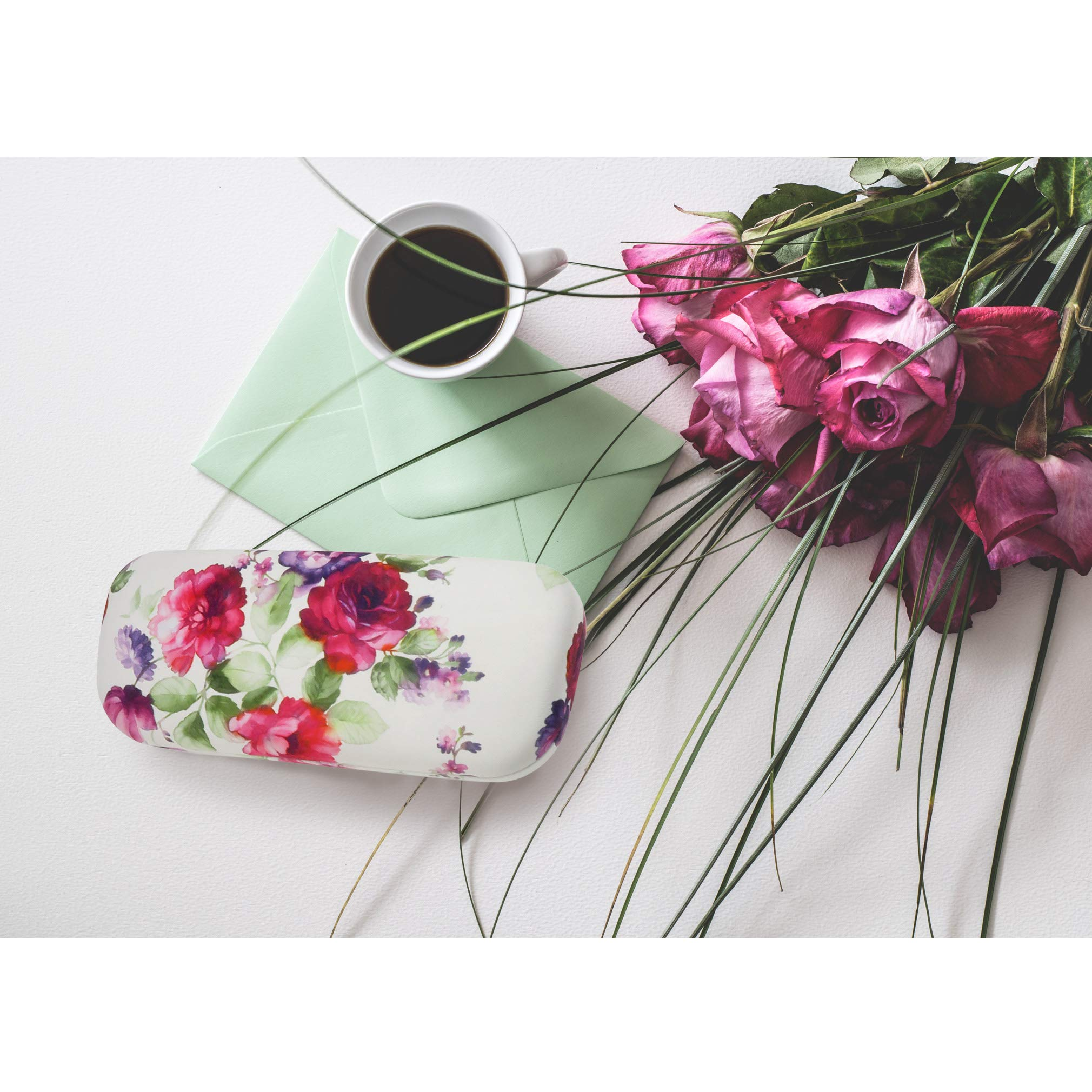 Floral Hard Shell Eyeglass Case for women Medium Sunglasses case with Cleaning Cloth by Rachel Rowberry (AS126 Cranberry Rose) by MyEyeglassCase (Image #4)