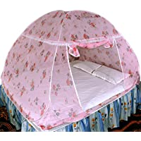 Healthy Sleeping Foldable Polyester Flexible for Double Bed, King Size Bed, Queen Size Bed Mosquito Net Printed(Light Pink)
