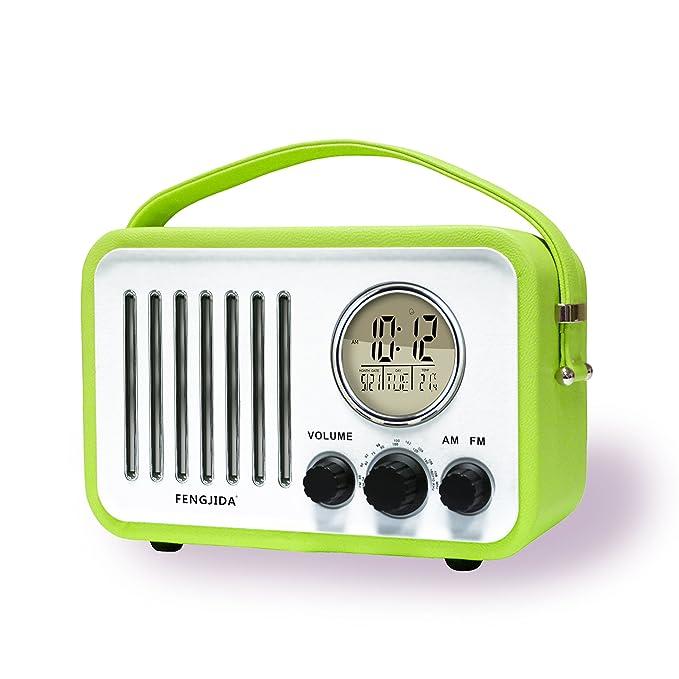 Amazon.com: Portable Wood FM AM Outdoor Radio Alarm Clocks Retro ...