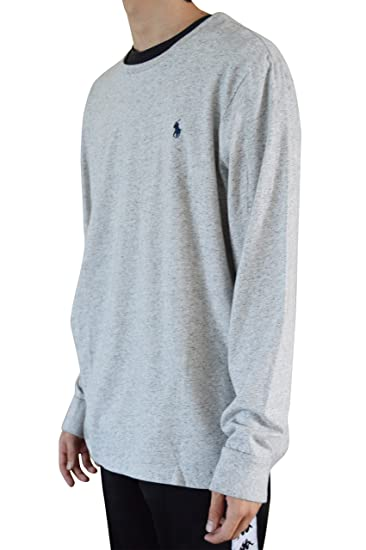 9aadbcab RALPH LAUREN Polo Mens Custom-Fit Long Sleeve Crew Neck T-Shirt(Small,  Grey) at Amazon Men's Clothing store: